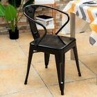 Home Restaurant 4PCS Tolix Style Steel Dining Chairs Stackable Bistro Armchairs