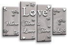 Love Quote Wall Art Picture Powder Grey White Love Heart Canvas Print Split