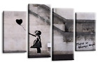 Banksy Wall Art Picture Red Black White Hope Balloons Canvas Multi Panel