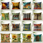 Flower Tree Linen Cotton Fashion Sofa Pillow Case Cushion Cover Throw Home Decor image