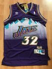 NBA Utah Jazz Karl Malone Throwback Hardwood Sewn Stitched Purple Jersey NWT