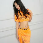 Sexy Hot Belly Dance Costume Lace Hollow Out Top & Skirt