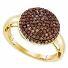 0.60 ct 10 ct Yellow Gold Cognac Diamond Cluster Micro Pave Right H Fashion Ring