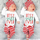 US Stock Christmas Set Newborn Baby Girl Boy Top Romper+Pants Hat Outfit Clothes