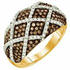 1.45 ct  10 ct Rose Gold Round Brown & Diamond Ladies Right Hand Fashion Band
