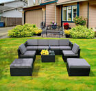 Mcombo 9PC Outdoor Rattan Wicker Sofa Patio Furniture Chair Garden Sectional Set