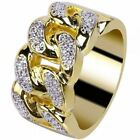 Mens Fashion Brass 18k Yellow Gold Plated Hip Hop MicroPave CZ Miami Cuban Rings