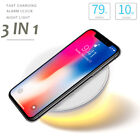 Multi-function Qi Wireless Fast Charger Charging Holder Alarm Clock Night Light