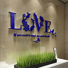 DIY Home 3D Decal Love Flower Wall Sticker Quote Flower Acrylic Art LOVE