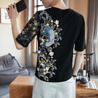 Hot Sale Mens Chinese 100% Cotton Short-sleeved Floral Casual T-shirt Loose Tops