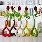 Lovely Romantic Flower Vase Heart Shape Home Office Decoration Porcelain Vase