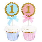 5pcs 1st Birthday Party Round Cupcake Toppers Baby First Birthday Party Decor TH