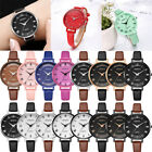 Women Girl Roman Numerals Alloy Case Leather Analog Wrist Watch Life Waterproof image