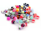 30/60 Mixed Color Tongue Ring Piercing Jewellery Tounge Different Barbell Bar U