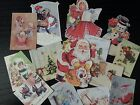 BB43 Lot of 15 Adorable VINTAGE CHRISTMAS GREETING DIE CUTS 4 crafts making