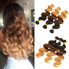 300g Brazilian Body Wave Wavy Human Hair Extensions Weft  3 Tone Ombre1 B/4/27