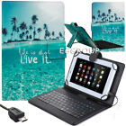 """US For 7"""" 8"""" 10.1"""" LG G Pad Android Tablet Print Leather Micro USB Keyboard Case"""