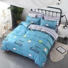 4pcs Bedding Set Simple Printed Quilt Duvet Cover Flat Bed Sheet Pillowslips
