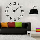 Modern Home DIY Large 3D Wall Clock Mirror Sticker Metal Watches Roman Numeral