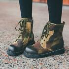 Womens Camo Shoes Hiking Military Retro Causal Lace Up Ankle Boots US Size