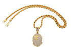 Gold Plated PE Head Pendant Necklace Rock Punk Sports Zircon Gold Chain 24* 30*