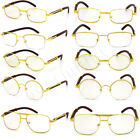 For Men's Gold Metal Wood Effect Frames Eye Glasses Clear Lens