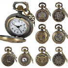Vintage Retro Pocket Watches Bronze Tone Pendant Necklace Chain Quartz Steampunk image