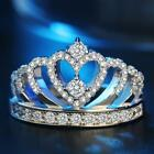 Women 925 Silver Plated Princess Wedding Band Zircon Crown Ring Jewelry Gift 5-9