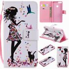 Pu Leather Wallet Case Flip Cover Stand Card Slot For Phones Girl Cat Flower