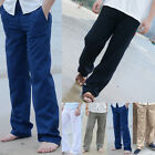 US STOCK Men Cotton Loose Pants Beach Drawstring Yoga Elasticated Linen Trousers