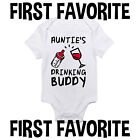 Auntie's Drinking Buddy Baby Onesie Shirt Pregnancy Announcement Newborn Gerber