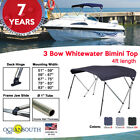 BIMINI TOP 3 Bow Boat Cover Blue With Rear Poles & Integrated Cover