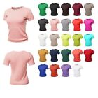 FashionOutfit Women's Classic Solid Round Neck Short Sleeve Viscose Knit Sweater