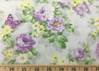 Butterfly Floral Fabric Lilac Purple Yellow Flowers on Gray Cotton Fabric  t2-13