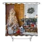 """72/79"""" Christmas Home Party Decoration Shower Curtain Bath Mat Rug Hooks NEW!!"""