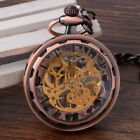 Luxury Steampunk Mechanical Pendant Watch Open Face Retro Skeleton Pocket Watch image