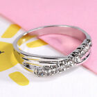 NEW White Crystal Cross Silver Ring Band Wrap Rings Women Fashion Jewelry Gift