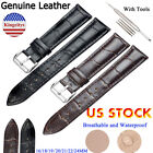 Genuine Leather Wristwatch Watch Strap Band Women Men Size 16-24mm Strap Belt image
