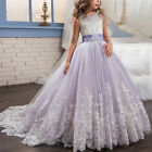 Flower Girl Princess Lilac Long Girls Pageant Dresses Kids Prom Tulle Ball Gown