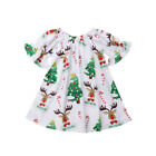 Christmas Newborn Infant Baby Girls Deer Print Sleeved Dress Party Dress Clothes