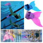 Kid Girls Mermaid Tail Monofin Swimmable Flippers for Swimming Pool Party Bikini