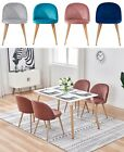 Dining Table and 4 Velvet Chairs Wood Top Modern Kitchen Set Metal Leg Soft Back