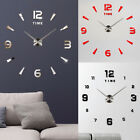 3D Modern DIY Large Number Mirror Wall Sticker Big Watch Home Decor Art Clock US
