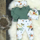 US Stock Newborn Baby Girls Tops Romper Floral Pants Outfits Set Clothes 0-24M