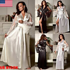 US Sexy Lingerie Women Silk Lace Robe Dress Satin Nightdress