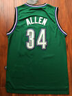 Milwaukee Bucks Ray Allen Throwback Hardwood Sewn/Stitched Green Jersey NWT