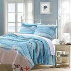BEAUTIFUL BEACH BLUE AQUA TEAL GREY SEASHELL NAUTICAL BIRD OCEAN CORAL QUILT SET