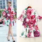 Halloween Crew neck Bell sleeve Panelled Print Zipper Stereoscopic Floral dress