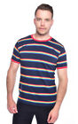 Mens Run & Fly Navy Retro Indie Rainbow Striped Ringer T-Shirt 60s 70s 80s