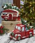 Внешний вид - Vintage Lighted Christmas Holiday Accents Gift Red Pick Up Truck or Retro Camper